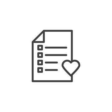 Marriage contract document line icon. linear style sign for mobile concept and web design. Checklist and heart outline vector icon. Heart diagnostic list symbol, logo illustration. Vector graphics
