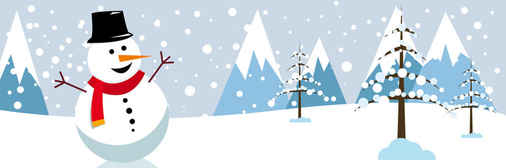 winter snow landscape banner background with fir trees and snowman. Illustration for poster, cover or advertising