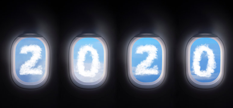 cloud 2020 outside the plane window, four airplane windows open white window shutter wide with blue sky view and white cloud in 2020 shape