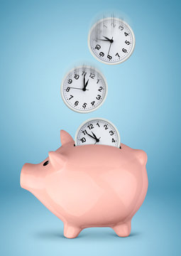 Save you time concept, piggy bank with clock