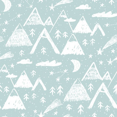Winter landscape. Childish seamless pattern with mountain, forest, snow and stars. Vector illustration for gift wrapping paper, textile, surface textures, childish design.