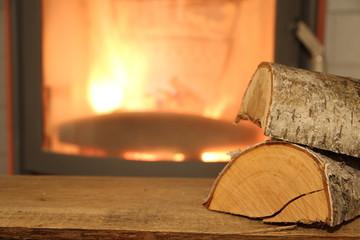 ein Kaminofen mit Holz und Pellets