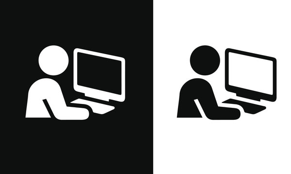 telecommuting vector design black and white icon