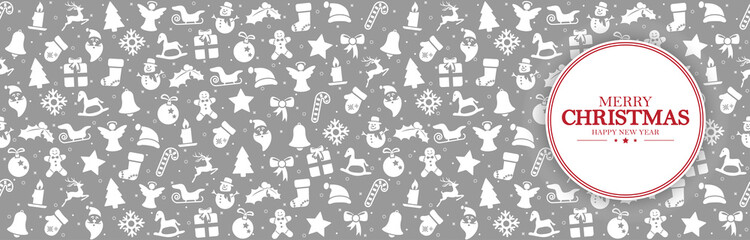Wall Mural - background banner with christmas icons and greetings