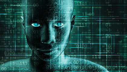 Futuristic and sci-fi human android portrait with pcb metallic skin and binary code green background. AI, IT, technology, robotics, science, transhumanism 3D rendering illustration concepts.