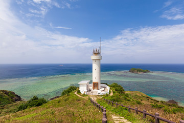 Hirakubo lighthouse on the Island of Ishigaki in Okinawa prefecture, Japan. Fotobehang