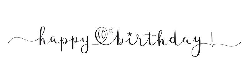 HAPPY 40th BIRTHDAY! black vector brush calligraphy banner with swashes