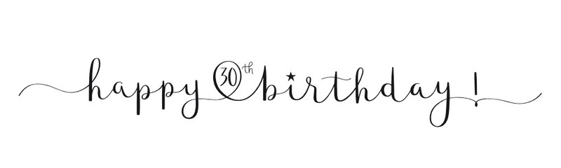 HAPPY 30th BIRTHDAY! black vector brush calligraphy banner with swashes