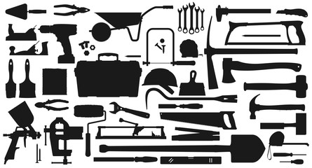 Repair, gardening, mining and farming tools isolated monochrome icons. Vector carpentry items, work tool kit. Spade and wheelbarrow, axe and drill, spatula and spanner, hammer and painting sprayer