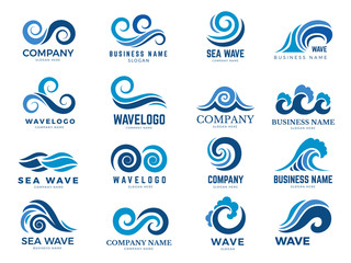 Wave logo. Graphic symbols of ocean or flowing sea water stylized for business identity vector. Illustration water wave logo for business emblem company