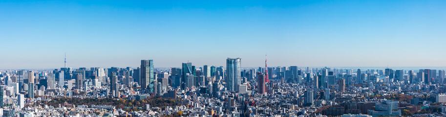 Foto auf AluDibond Blau (東京都-風景パノラマ)ラウンジから望む六本木側風景1