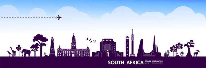 Fototapete - South Africa travel destination grand vector illustration.