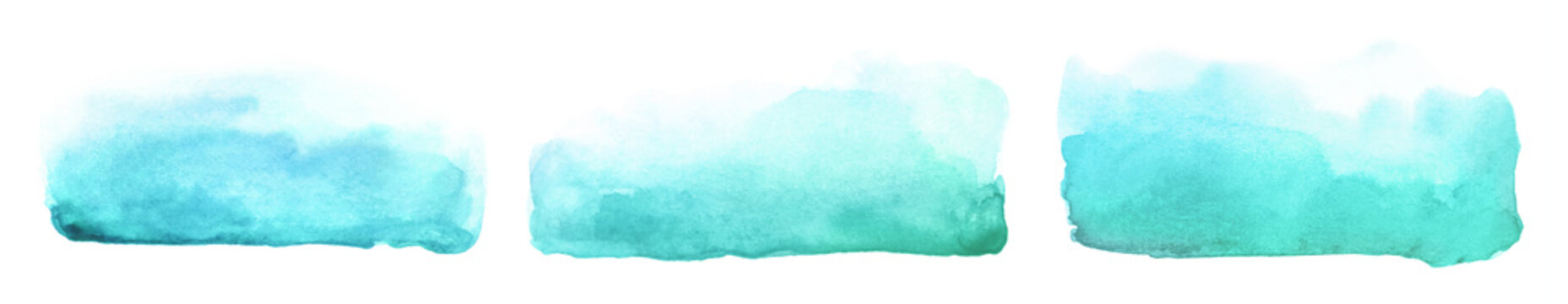Collection of abstract watercolor blue green brush strokes.