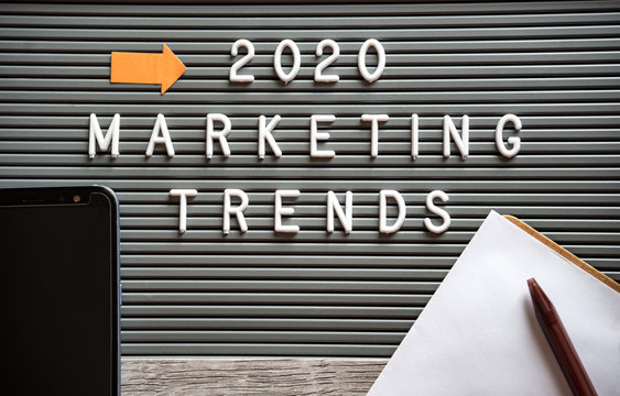 2020 Marketing Trends with plastic letters on typesetting board