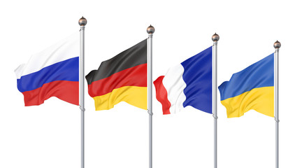 Flags of France, Germany, Russia, and Ukraine. Normandy Format meeting on eastern Ukraine. Paris, France — 9 December 2019. 3D illustration. Isolated on white.