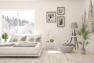 Stylish bedroom in white color with winter landscape in window. Scandinavian interior design. 3D illustration