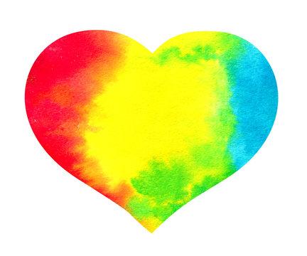 Watercolor rainbow heart - lgbt, lesbian, gay love symbol.