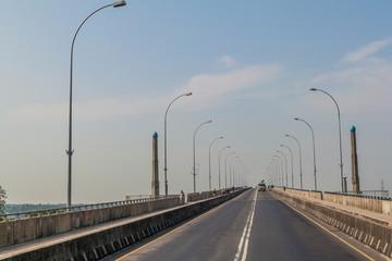 KHULNA, BANGLADESH - NOVEMBER 16, 2016: Traffic on Khan Jahan Ali Bridge over Rupsa River in Khulna, Bangladesh