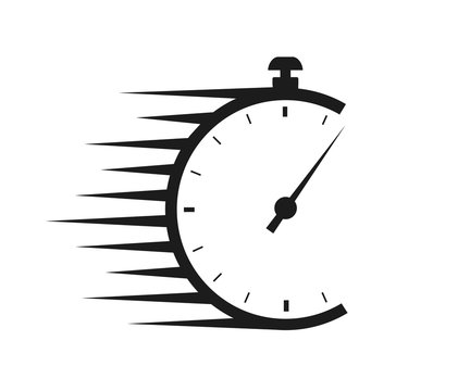 Fast delivery icon with timer. Fast stopwatch line icon. Fast delivery shipping service sign. Speed clock symbol urgency, deadline, time management, competition sign – stock vector