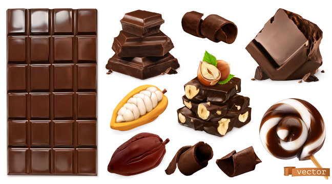 Realistic Chocolate. Chocolate bar, candy, pieces, shavings, cocoa beans and hazelnuts. 3d vector set