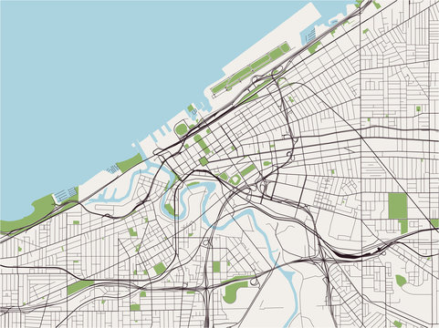 map of the city of Cleveland, Ohio, USA