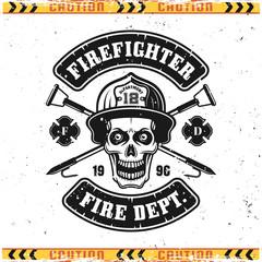 Skull of firefighter and fire hooks vector emblem
