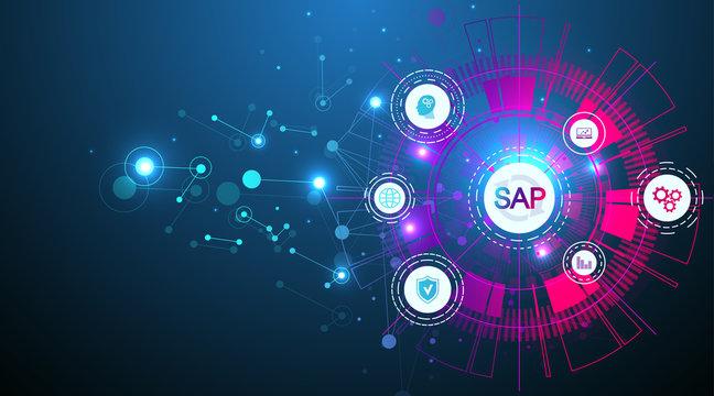 SAP Business process automation software. ERP enterprise resources planning system concept banner template. Technology future sci-fi concept SAP. Artificial intelligence. Vector illustration