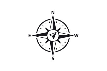Compass Vector Icon. North, South, East and West indicated. Arrow Compass Icon