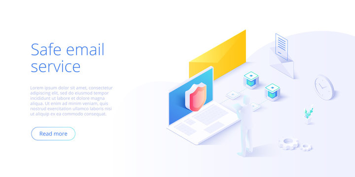 Email service security creative vector illustration. Electronic mail message concept as part of business marketing. Webmail or mobile service layout for website landing page.