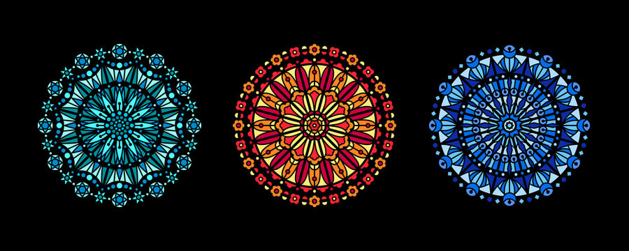 Stained glass illustration collection, circle shape pattern, rose window mandala ornament, tracery. Round frames set, radial floral motive design element. Colorful mosaic decoration, background