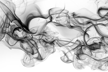 Toxic of black amoke abstract on white background. fire design Fotomurales