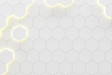 Fotobehang - Glowing white hexagonal background.