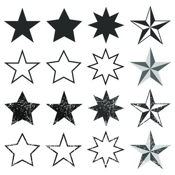 Flat style Star shape silhouette icon button set.  Feedback, ranking quality sign symbol. Vector illustration icon. Isolated on White background. Western,nautical stars frame logo.