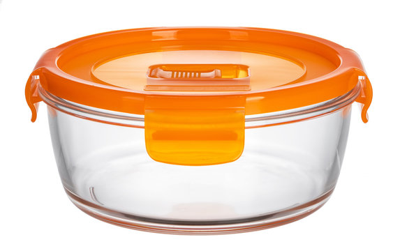 Glass container with lid isolated on white background