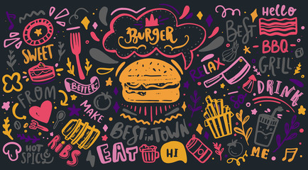 Colorful Restaurant Wall typography. Vector Food BBQ background, motivational cafe menu with lettering on chalkboard