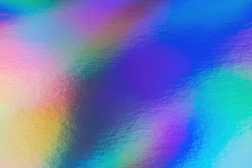 Wall Mural - Abstract trendy rainbow holographic background in 80s style. Blurred texture in violet, pink and mint colors with scratches and irregularities. Pastel colors.