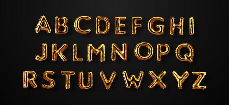 Gold 3d foil party balloon alphabet letter abc set