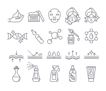 Black and white skin care and beauty cosmetics icons set. Outline signs for cosmetic product package. Flat line art vector illustration