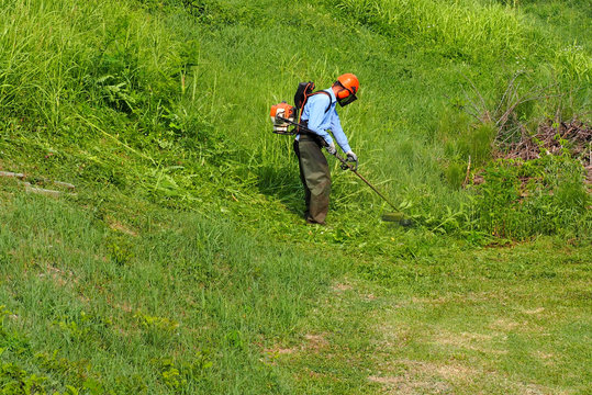 A gardener trims the grass in a downhill field with a weed eater. He wears all the prescribed safety clothes and accessories.