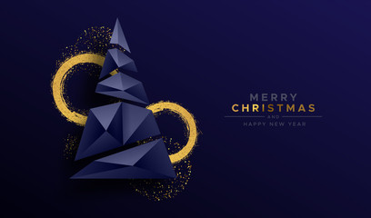 Wall Mural - Christmas new year abstract 3d low poly tree card