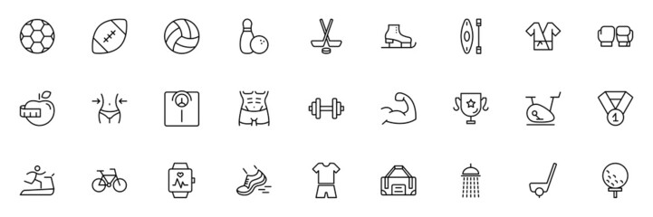 SPORT vs FITNESS line thin icons set. Vector illustrations collection EPS10.
