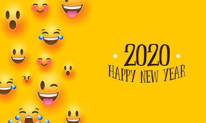 Wall Mural - Happy new year 2020 social chat smiley face card