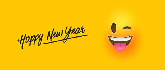 Wall Mural - Happy new year funny emoticon face banner
