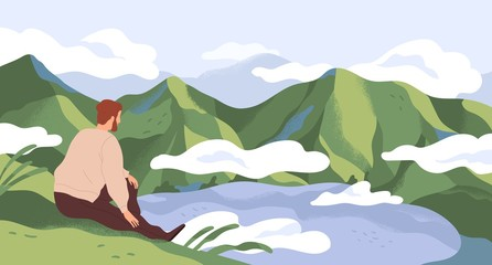 Nature exploration and contemplation flat vector illustration. Man enjoying scenic mountain landscape. Searching new horizons. Explorer cartoon character. Outdoor activity, discovery. Fototapete