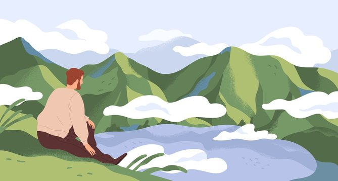 Nature exploration and contemplation flat vector illustration. Man enjoying scenic mountain landscape. Searching new horizons. Explorer cartoon character. Outdoor activity, discovery.