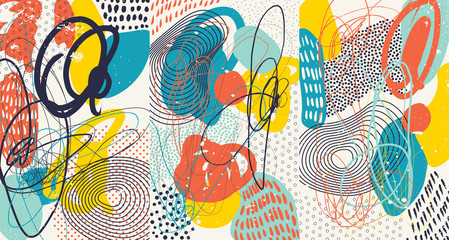 In de dag Graffiti Creative doodle art header with different shapes and textures. Collage. Vector