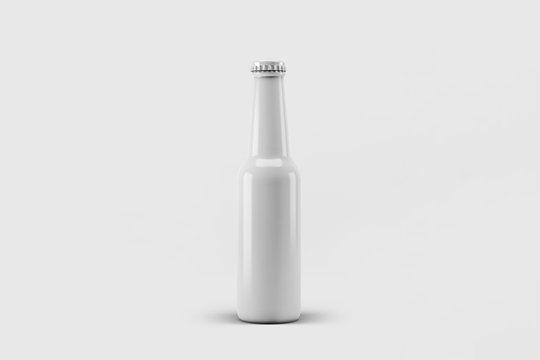 Blank Beer Bottle Mock Up on light gray background.3D rendering.