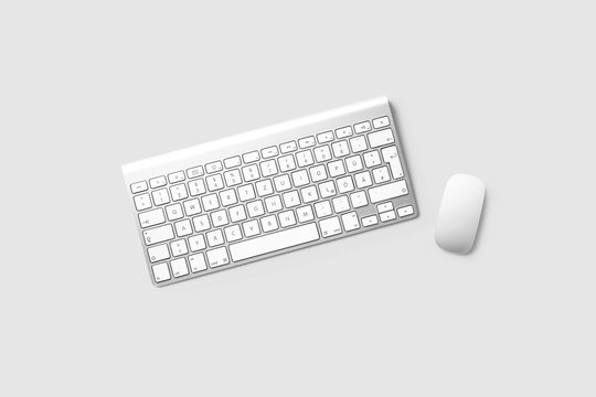 Wireless Keyboard and Mouse isolated on light gray background .3D rendering