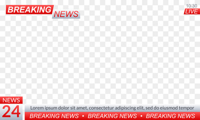 Breaking news logo or banner for TV channel broadcasting. Title for TV screen background or news studio. Vector illustration.