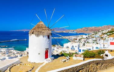 Obraz Wyspa Mykonos, wiatrak, Cyklady, Grecja - fototapety do salonu